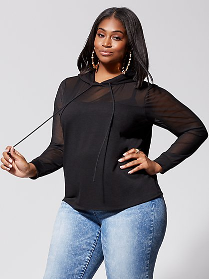 Plus Size DeeDee Mesh Sleeve Hoodie - Fashion To Figure
