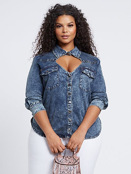 Plus Size Deedee Cut-Out Denim Top - Fashion To Figure