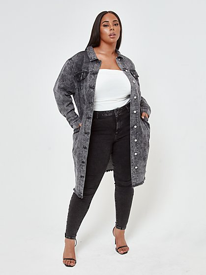 Plus Size Deena Black Acid Wash Trucker Jacket - Fashion To Figure