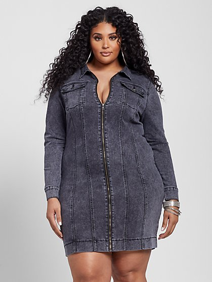 Plus Size Deena Zip Front Denim Dress - Fashion To Figure