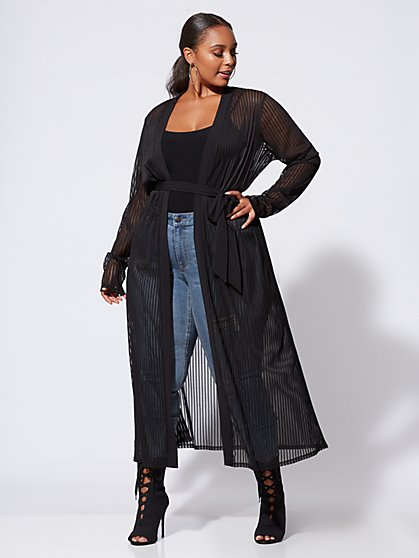 Plus Size Delaney Sheer Striped Duster - Fashion To Figure