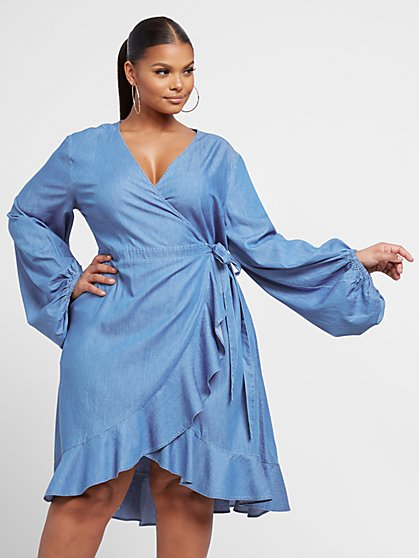 Plus Size Delia Denim Wrap Dress - Fashion To Figure
