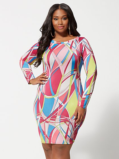 0d553526b3 Plus Size Delia Geometric Print Bodycon Dress - Fashion To Figure ...
