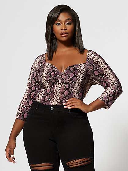 Plus Size Delilah Snake Print Top - Fashion To Figure