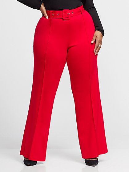 Plus Size Delphine Covered Buckle Belt Flare Pant - Fashion To Figure