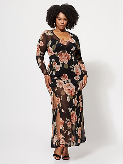 Plus Size Demi Mesh Floral Maxi Dress - Fashion To Figure