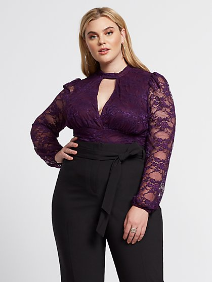 Plus Size Demi Mock Neck Lace Top - Fashion To Figure