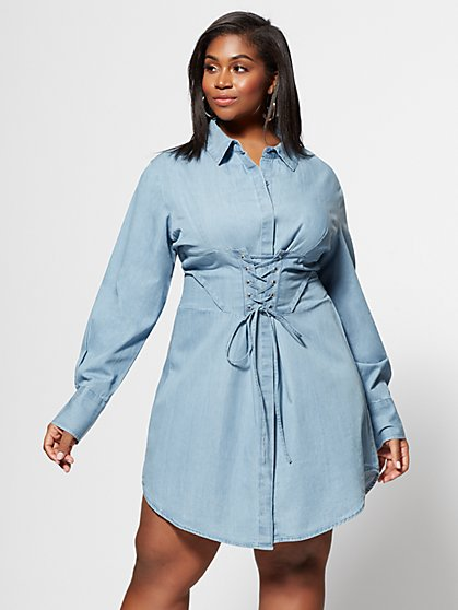 Plus Size Denim Girl Boss Corset Shirt Dress - Fashion To Figure