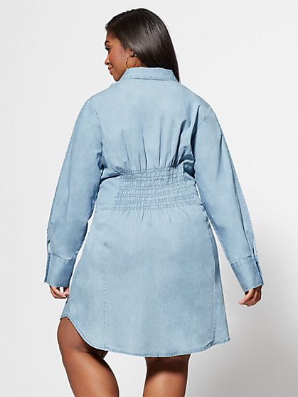 a3fb50378c0d ... Plus Size Denim Girl Boss Corset Shirt Dress - Fashion To Figure ...