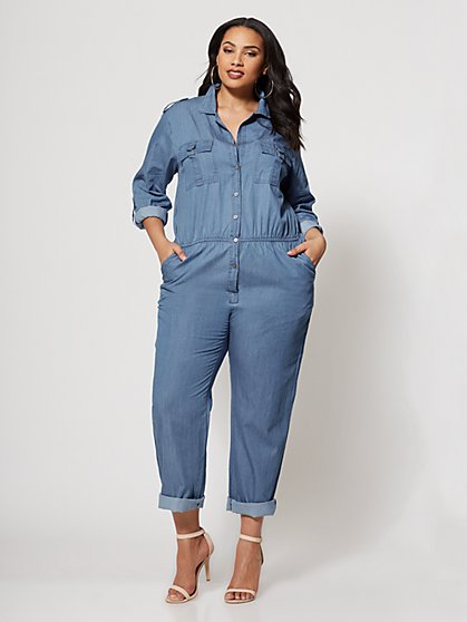Plus Size Denim Military Jumpsuit - Fashion To Figure