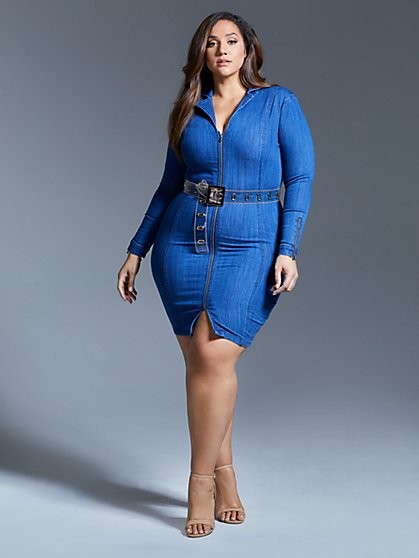 7fd37658c9 ... Plus Size Denise Denim Zip Bodycon Dress - Fashion To Figure ...