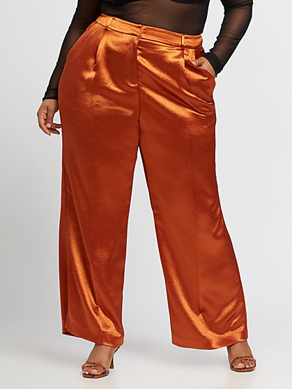 Plus Size Denize Pleated Satin Pant - Fashion To Figure