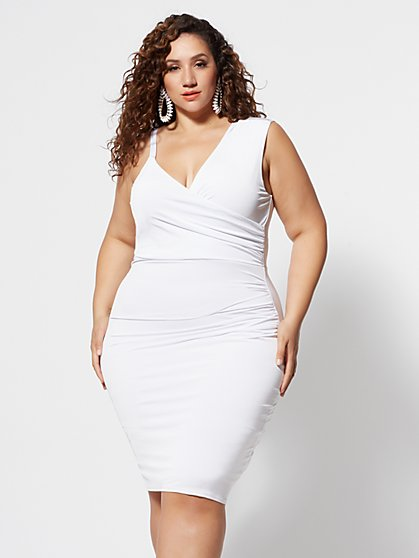 Plus Size Desirae Asymmetrical Draped Dress - Fashion To Figure