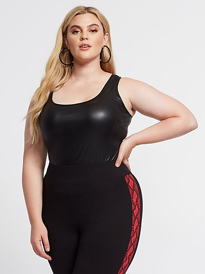 Plus Size Desiree Faux-Leather Bodysuit - Fashion To Figure