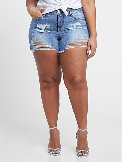 Plus Size Destructed Cut Off Shorts - Fashion To Figure