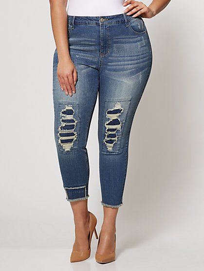 Plus Size Destructed High Rise Skinny - Fashion To Figure