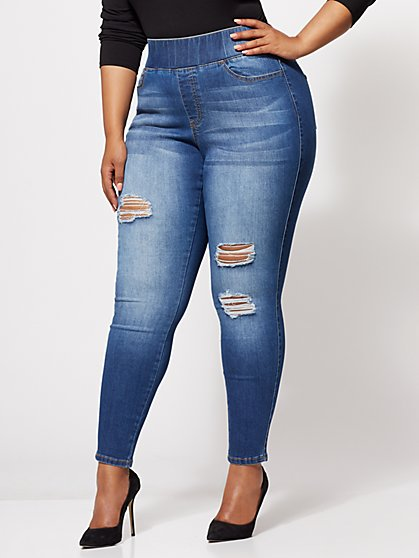 Plus Size Destructed Jeggings - Fashion To Figure