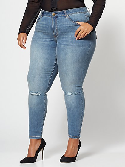 Plus Size Destructed-Knee Skinny Jeans - Fashion To Figure