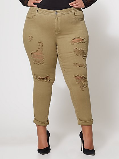 Plus Size Destructed Olive Skinny Jeans - Fashion To Figure