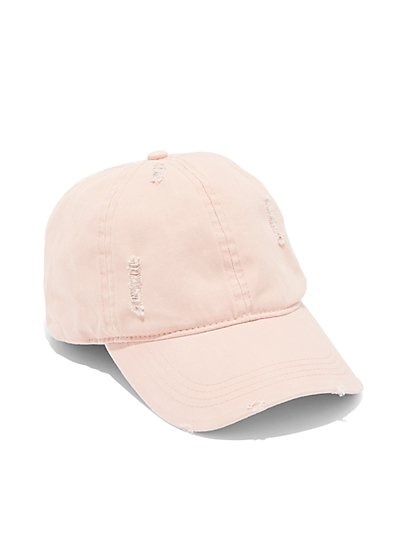 Plus Size Destructed Pink Baseball Cap - Fashion To Figure