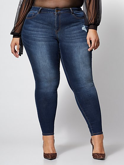 Plus Size Destructed Skinny Jeans - Fashion To Figure