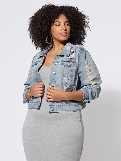 Plus Size Destructed Trucker Jacket - Fashion To Figure