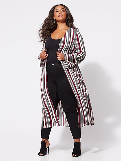 Plus Size Devorah Striped Duster - Fashion To Figure