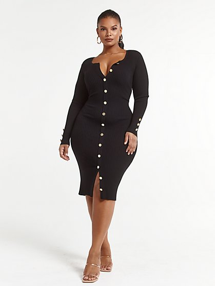 Plus Size Devyn Button-Down Sweater Dress - Fashion To Figure