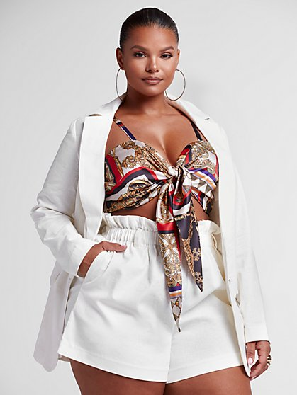 Plus Size Diane Stretch Linen Blazer - Fashion To Figure