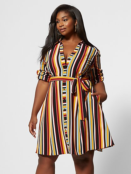 Plus Size Dinah Striped Shirt Dress - Fashion To Figure