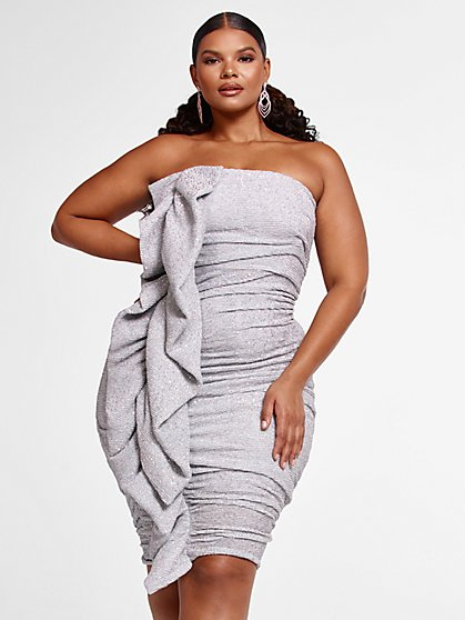 Plus Size Dionne Strapless Ruffle Dress - Fashion To Figure