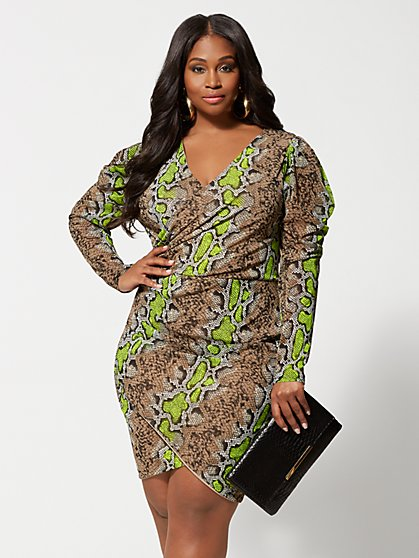 Plus Size Dita Snake Print Bodycon Dress - Fashion To Figure