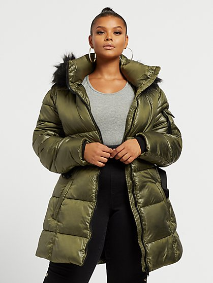 Plus Size Dolly Belted Puffer Coat - Fashion To Figure