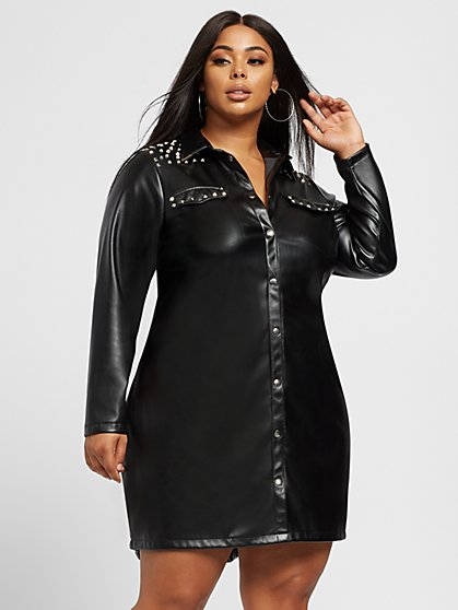 Plus Size Domanique Faux-Leather Shirt Dress - Fashion To Figure