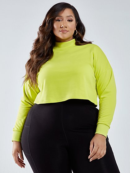 Plus Size Dominique Mockneck Active Crop Top - Fashion To Figure