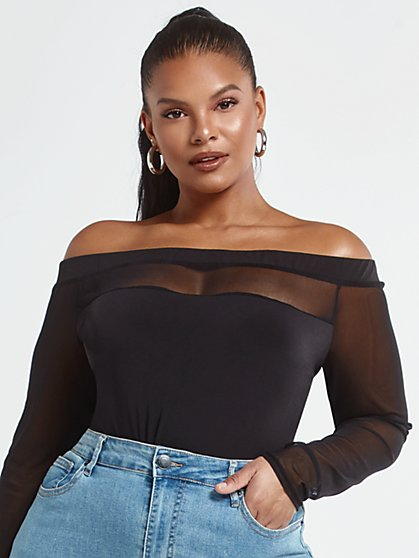 Plus Size Donna Black Mesh Off the Shoulder Top - Fashion To Figure