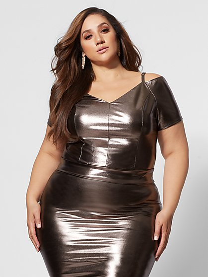 Plus Size Donna Bronze Crop Top - Fashion To Figure