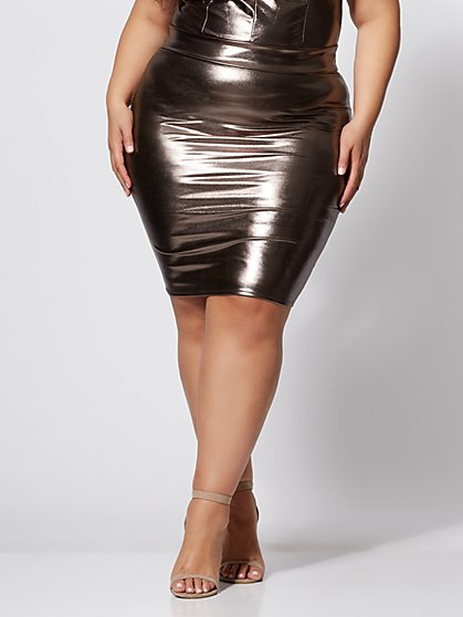 Plus Size Donna Bronze Pencil Skirt - Fashion To Figure
