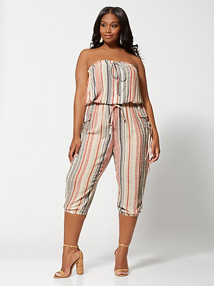 Plus Size Dorota Strapless Stripe Jumper - Fashion To Figure