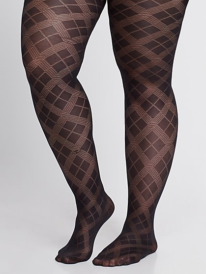 Plus Size Double Diamond Black Tights - Fashion To Figure