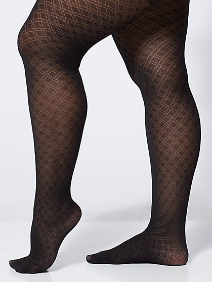 Plus Size Double Diamond Tights - Fashion To Figure