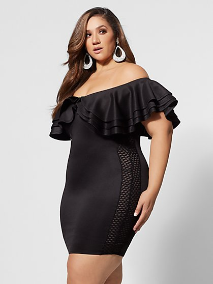 Plus Size Drama Ruffle Bodycon Dress - Fashion To Figure