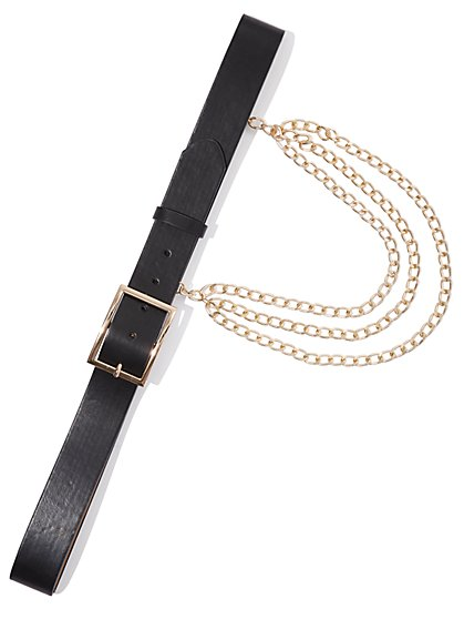 Plus Size Drape Gold-Tone Chain Belt - Fashion To Figure