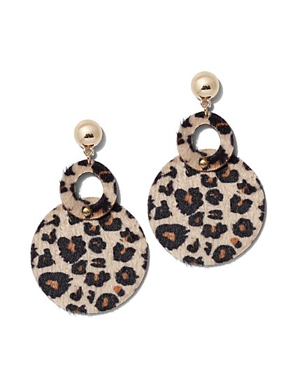 Plus Size Drop Circle Animal Statement Earring - Fashion To Figure