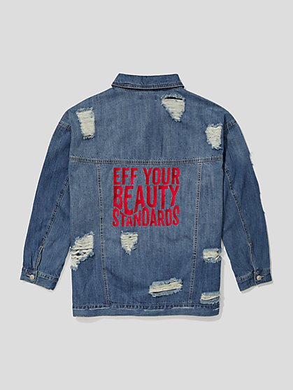Plus Size EYBS Denim Trucker Jacket - Fashion To Figure