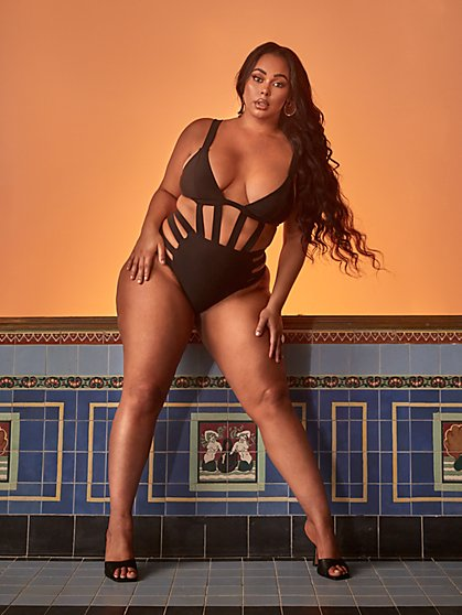 Plus Size Ebony Caged Swimsuit - Tabria Majors x FTF - Fashion To Figure