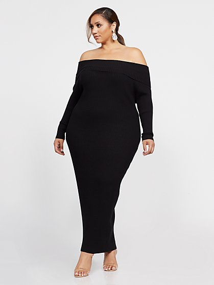 Plus Size Edie Off Shoulder Maxi Sweater Dress - Fashion To Figure
