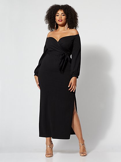 Plus Size Edie Tie-Front Maxi Dress - Fashion To Figure