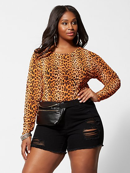 Plus Size Electra Neon Cheetah Print Mesh Top - Fashion To Figure