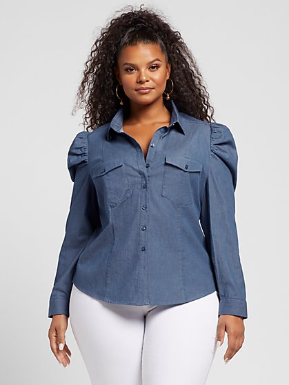 Plus Size Elena Puff Sleeve Chambray Shirt - Fashion To Figure